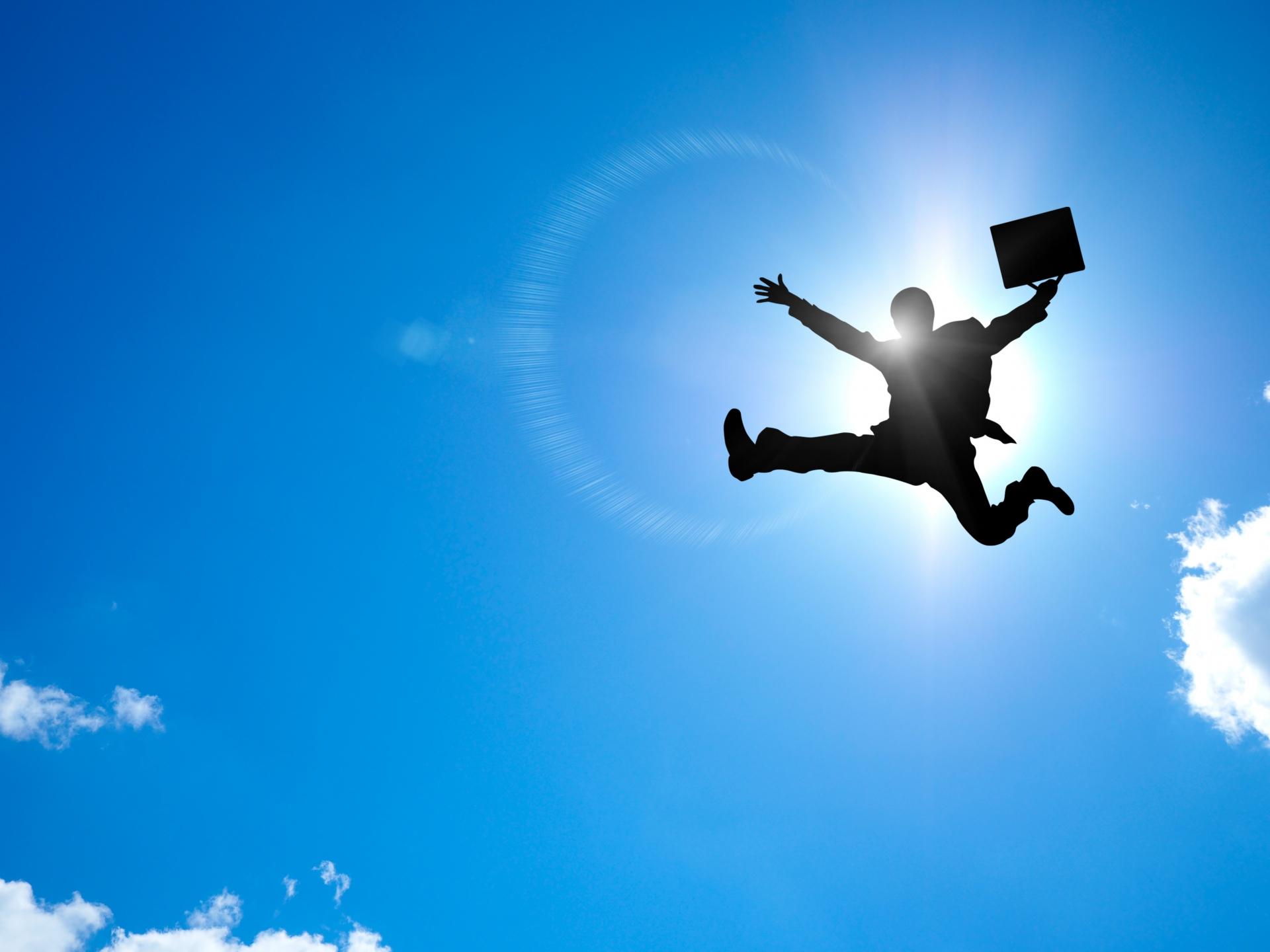 飛翔するビジネスマン
